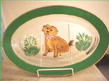 hand painted dog platter