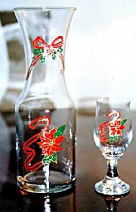 Hand painted Christmas Liqueur Glasses and Carafe