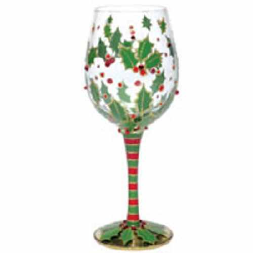 Hand painted christmas holly berry wine glass for Holiday stemware