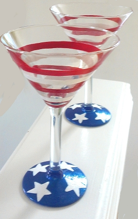 Patriotic Glasses 4th Of July Glasses Hand Painted