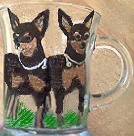 Hand Painted Doberman Pincher Dog Coffee Mugs