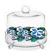 Cheese Domes Hand painted In Blue and White Flowers