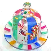Hand painted Cheese Domes In Rooster Design