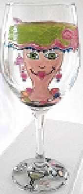 Hand painted Hat Lady Wine Glass For Her
