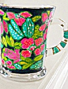 Clearly Susan's Mugs Hand painted In Lilly Pulitzer Design
