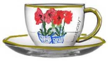 Red Amaryllis Hand painted On Coffee Cups and Saucers