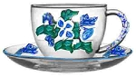 Blue and White Savoy  Hand painted Coffee Cups And Saucers