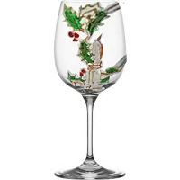 Hand painted Holiday Wine Glasses In Christmas Turtle, Candle, Duck and White Dove