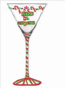 Hand painted Candy Cane Christmas Martini Glass
