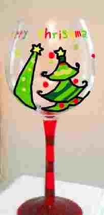 Hand painted Christmas Tree Wine Glasses