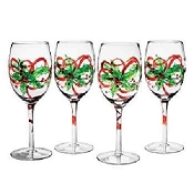 Hand painted Christmas Whimsical Green Bow Wine Glasses
