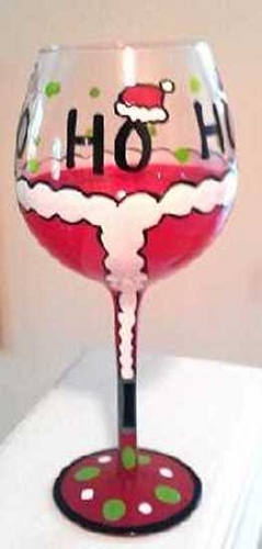 Hand painted Christmas Santa Wine Glass