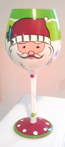 Christmas Santa Wine Glass With Old Saint Nick
