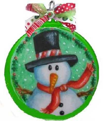 Snowman Green Ball Christmas Ornament