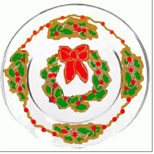 Christmas Wreath Plates With Holly Berries
