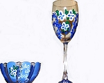 Hand painted Wine Glasses | Bowls | Blue and White Flowers
