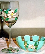 Hand painted Magnolia Wine Glass