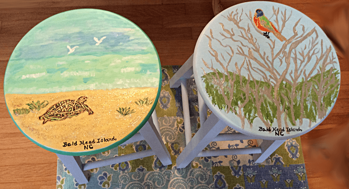 Hand Painted Kitchen Stools In Bird And Turtle Designs