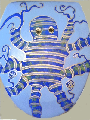 Hand painted Toilet Seat, Octopus Painting
