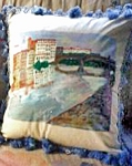 Hand made Pillows Hand painted Of Arno Bridge Florence, Italy