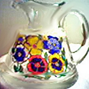 Hand painted Pitcher In Colorful Pansy Design