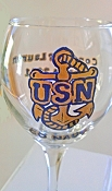 United States Navy Hand painted Wine Glass