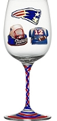 Hand painted Sports Glasses, New England Patriots Football Glasses