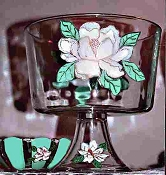 Hand painted Magnolia Design Trifle Bowl