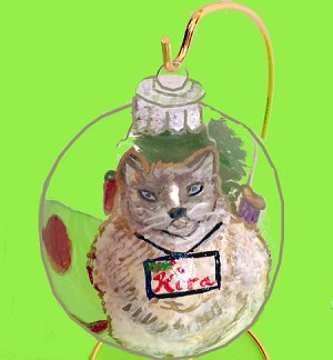 Christmas Grey Cat Ornaments Hand painted