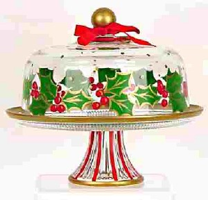 Hand painted Holiday Cake Plate