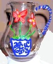 Hand painted Pitcher In Amaryllis Design