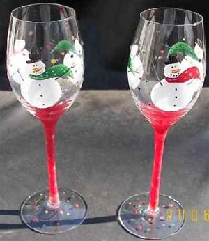 Hand painted Snowmen Wine Glasses