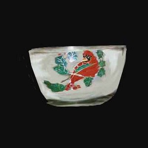 Hand painted Red Bird Christmas Bowl