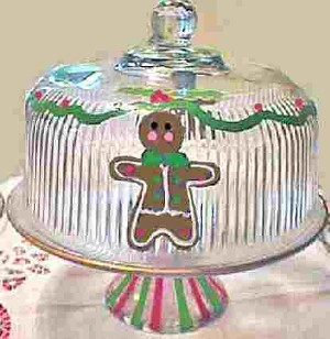 Hand painted Gingerbread Cake Plate
