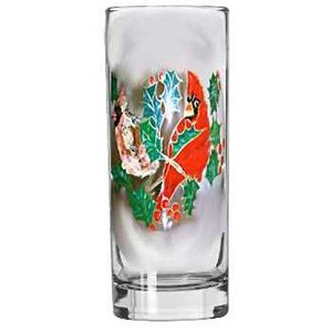 Hand painted  Red Bird Christmas Glasses