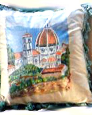 Hand painted pillows of the Duomo in Florence, Italy