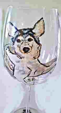 Akita Dog Portraits Hand Painted Wine Glasses Clearly Susan
