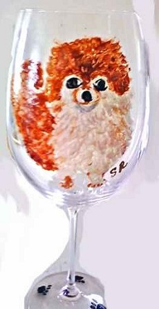Hand Painted Pomeranian Dog  Wine Glass