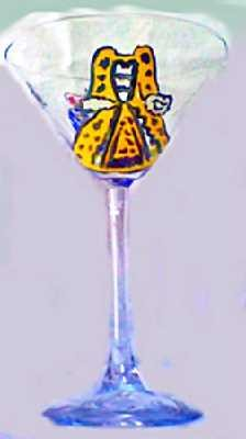 Hand painted Queen Sylvia Martini Glass
