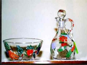 Hand painted Oil and Vinegar Cruets Vegetable Garden Design