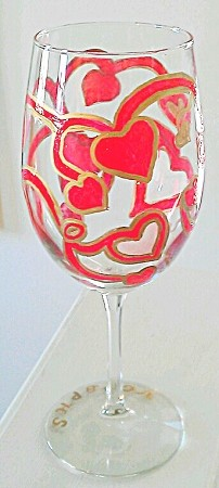 Hand painted Valentine Wine Glass