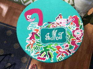 Hand painted Bar Stools In Lily Pulitzer Design