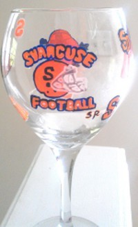 Hand painted Syracuse University Football Glasses, Sports Glasses | Clearly Susan