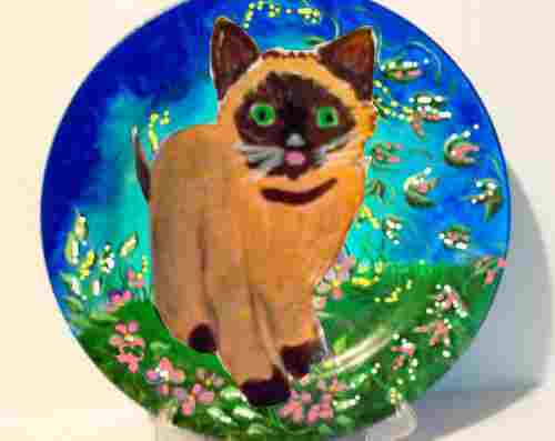 hand painted cat plate