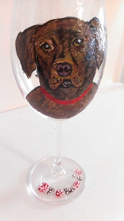 Chocolate Lab Hand painted Dog Wine Glasses