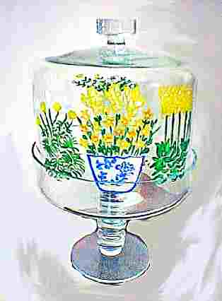 Pedestal Cake Stand In Yellow Flowers