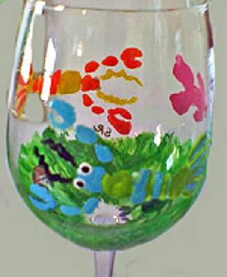 Painted Wine Glasses, Beach Wine Glasses
