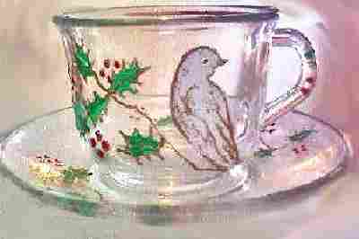 Christmas White Dove Cup-Saucer