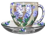 Purple Wisteria Hand painted Cups and Saucers | Clearly Susan