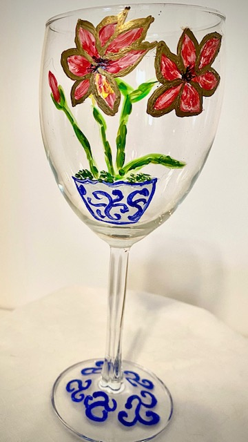 Custom Wine Glasses Red Amaryllis